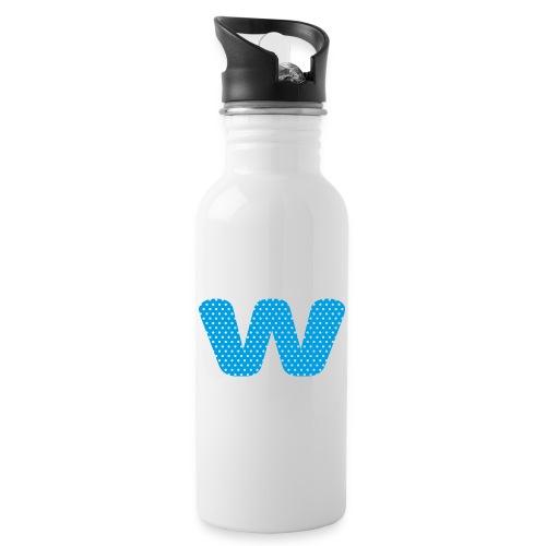 Logo kun W - Drikkeflaske med integrert sugerør
