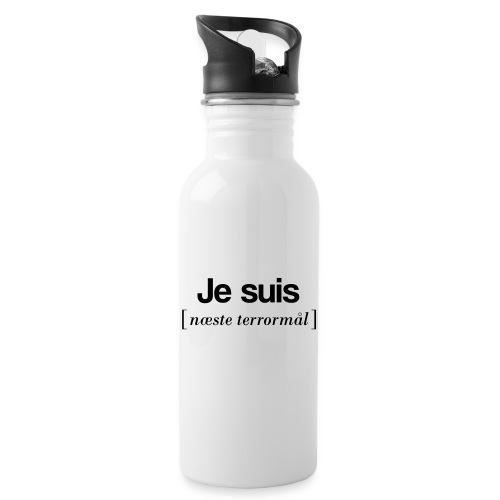 Je suis (sort skrift) - Drikkeflaske med integreret sugerør