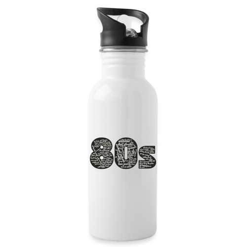 Cloud words 80s white - Water bottle with straw