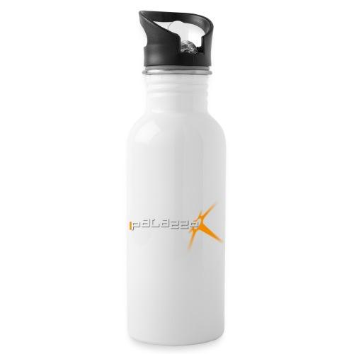Palazzo Logo Klassik white - Trinkflasche mit integriertem Trinkhalm