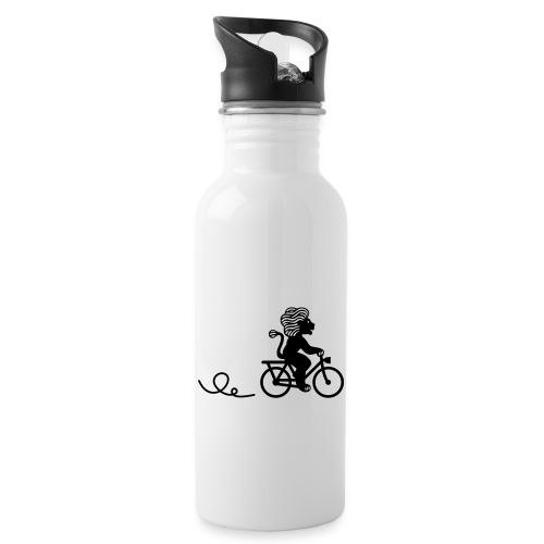 Züri-Leu beim Velofahren ohne Text - Trinkflasche mit integriertem Trinkhalm