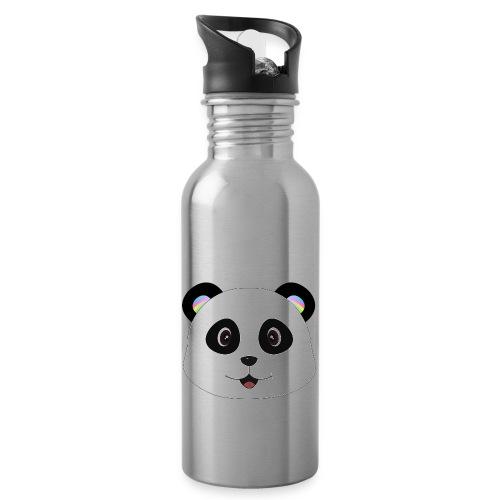 panda rainbow - Botella cantimplora con pajita integrada