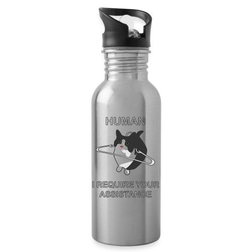 Human, I require your assitance! - Trinkflasche mit integriertem Trinkhalm