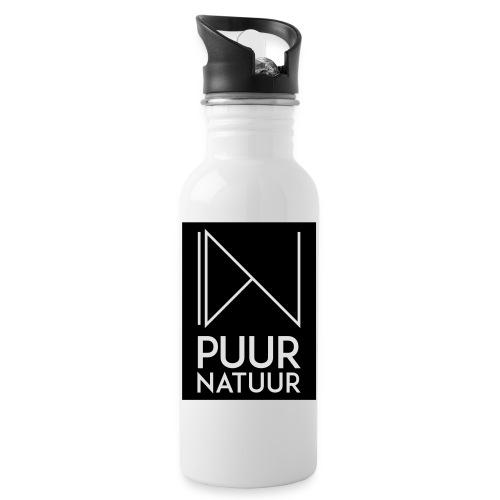 Logo puur natuur negatief - Drinkfles met geïntegreerd rietje