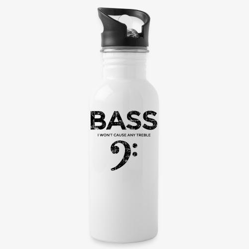 BASS I wont cause any treble (Vintage/Schwarz) - Trinkflasche mit integriertem Trinkhalm