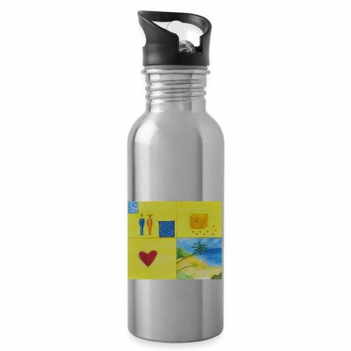 Viererwunsch - Trinkflasche mit integriertem Trinkhalm