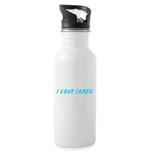 I Love Corfu Griechenland - Trinkflasche mit integriertem Trinkhalm