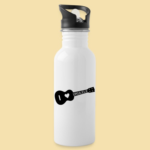 I love UKULELE - Trinkflasche mit integriertem Trinkhalm