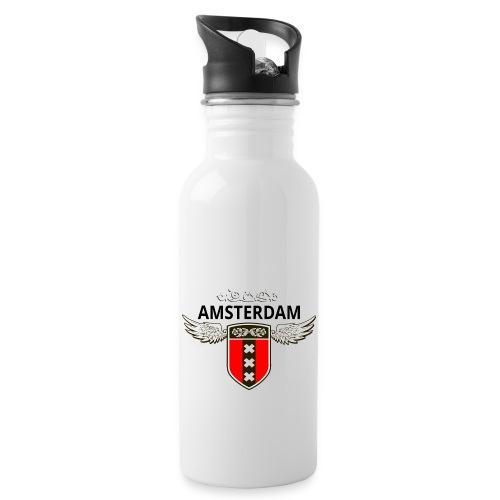 Amsterdam Netherlands - Trinkflasche mit integriertem Trinkhalm