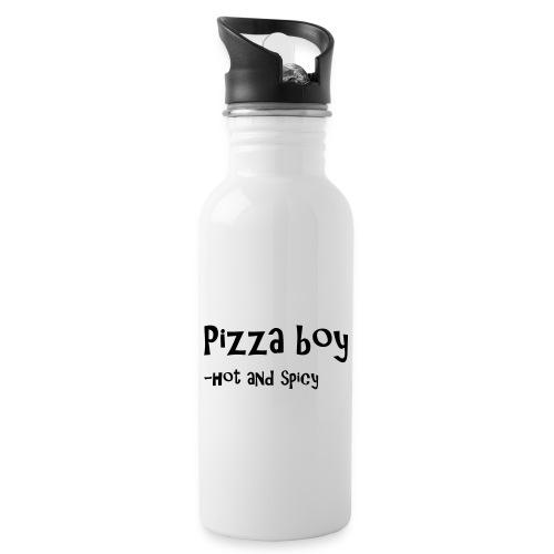 Pizza boy - Drikkeflaske med integrert sugerør