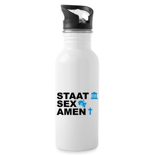 Staatsexamen / Staat Sex Amen - Trinkflasche mit integriertem Trinkhalm
