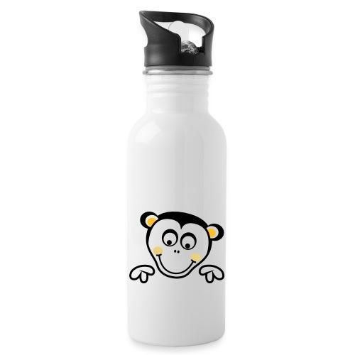 kletterturm_de_logo_affe_ - Trinkflasche mit integriertem Trinkhalm