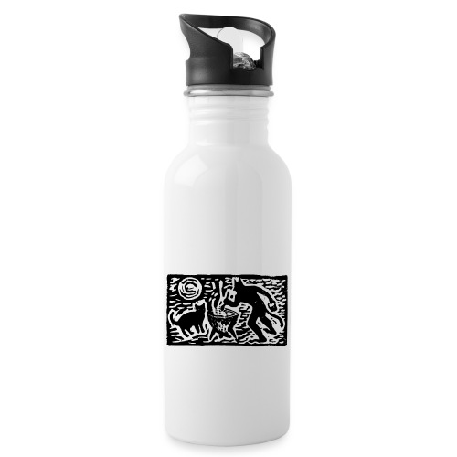 Teufel mit Katze - Trinkflasche mit integriertem Trinkhalm