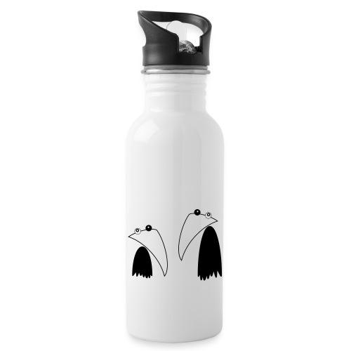 Raving Ravens - black and white 1 - Trinkflasche mit integriertem Trinkhalm