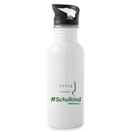 #schulkind mit Tafel - Trinkflasche mit integriertem Trinkhalm