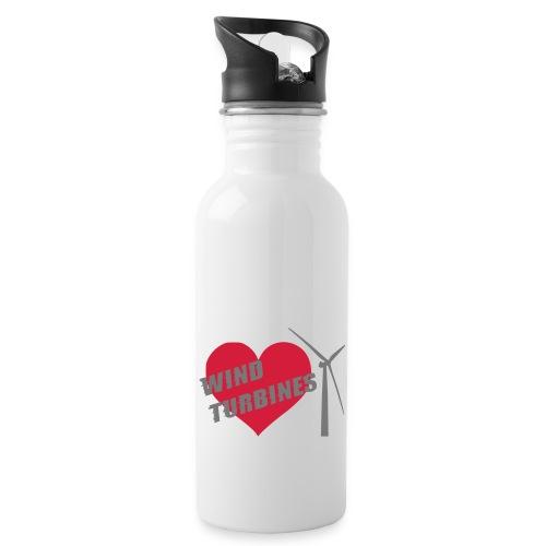wind turbine grey - Water bottle with straw