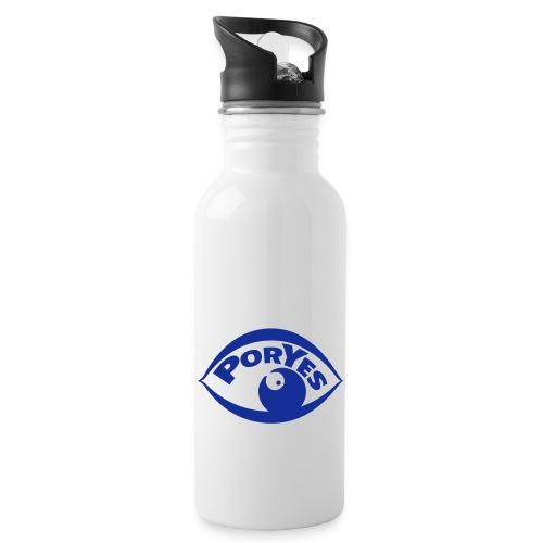 logo poryes lila - Trinkflasche mit integriertem Trinkhalm