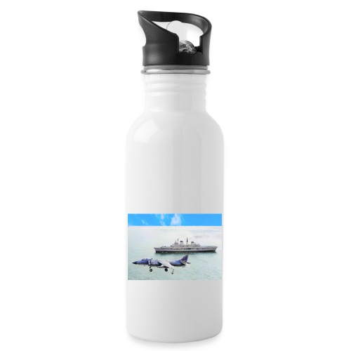 Sea harrier and Invicible digital oil - Water bottle with straw