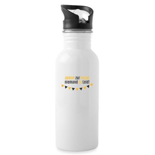 Jedem zur Freud, niemand zu Leid! - Trinkflasche mit integriertem Trinkhalm