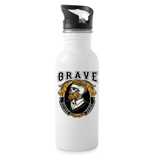 Grave Before Shave Bearded - Trinkflasche mit integriertem Trinkhalm