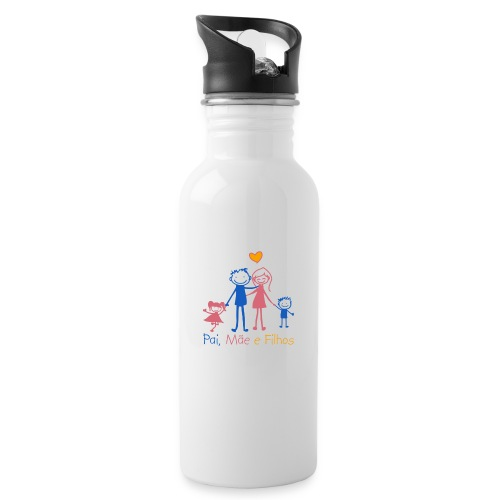 Pai Mãe e Filhos - Water bottle with straw