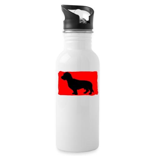 Ruwhaar Teckel Rood - Drinkfles met geïntegreerd rietje
