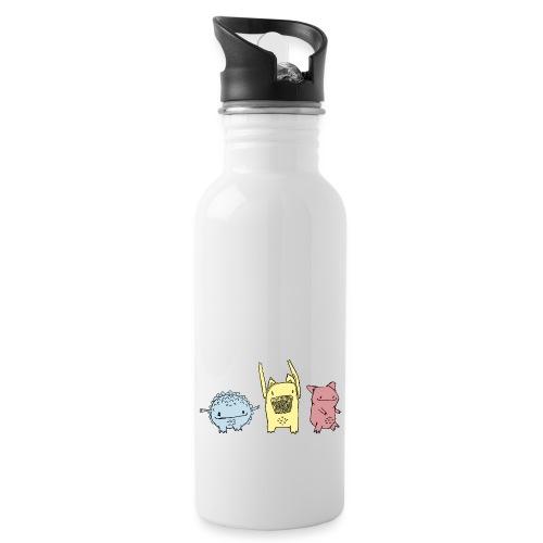 Little Monster friends02 - Trinkflasche mit integriertem Trinkhalm