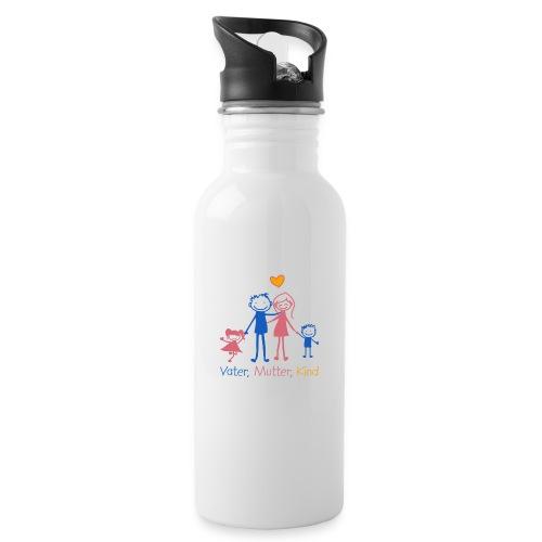 Vater, Mutter, Kind - Trinkflasche mit integriertem Trinkhalm