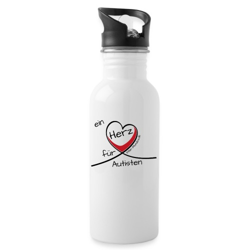 Ein Herz für Autisten - Trinkflasche mit integriertem Trinkhalm