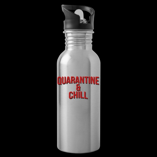 Quarantine & Chill Corona Virus COVID-19 - Trinkflasche mit integriertem Trinkhalm