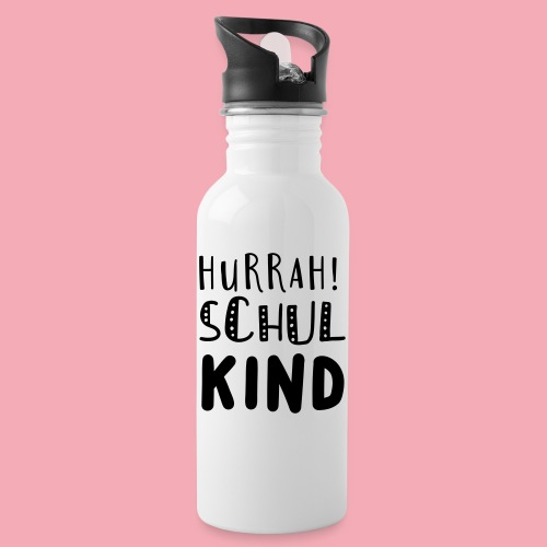 Hurrah! Schulkind - Trinkflasche mit integriertem Trinkhalm