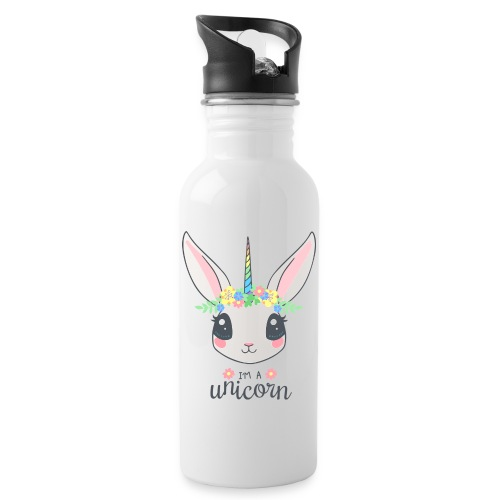 I am Unicorn - Trinkflasche mit integriertem Trinkhalm