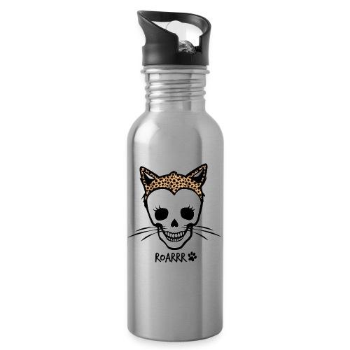 Wild-Katzen-Liebe - Trinkflasche mit integriertem Trinkhalm