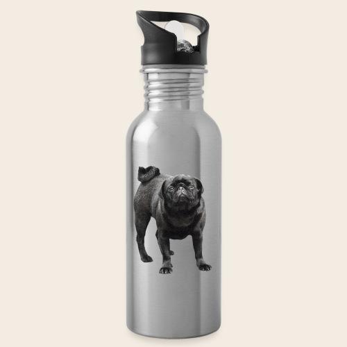 schwarzer Mops - Trinkflasche mit integriertem Trinkhalm