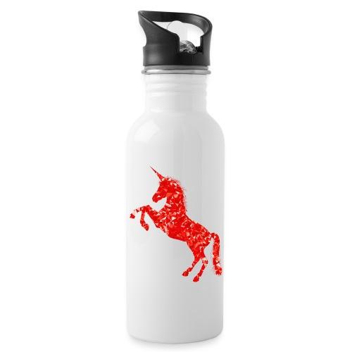 unicorn red - Bidon z wbudowaną słomką