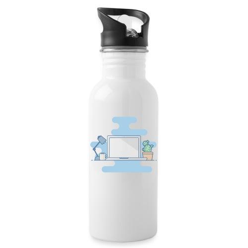 Arbeitstisch - Trinkflasche mit integriertem Trinkhalm
