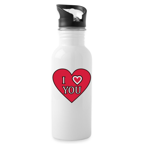 Herz - I love you - Trinkflasche mit integriertem Trinkhalm
