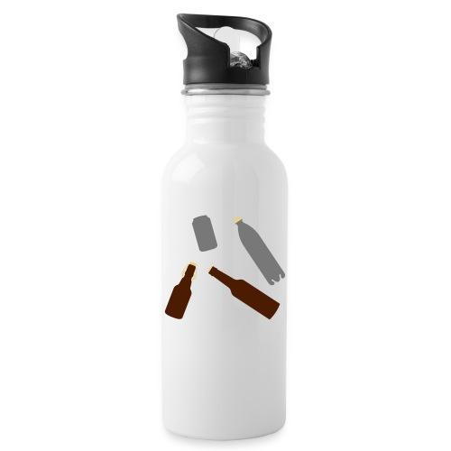 Flaschen und Dose - Trinkflasche mit integriertem Trinkhalm