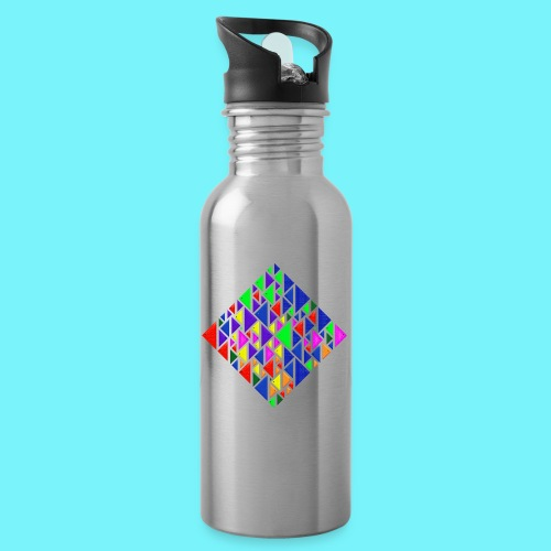 A square school of triangular coloured fish - Water bottle with straw