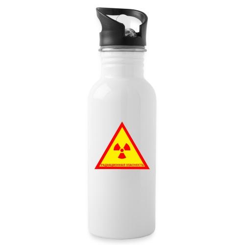 Achtung Radioaktiv Russisch - Trinkflasche mit integriertem Trinkhalm