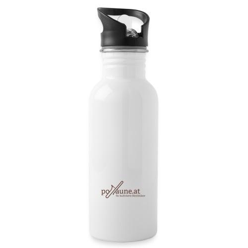 posaune at Logo 2014 - Trinkflasche mit integriertem Trinkhalm