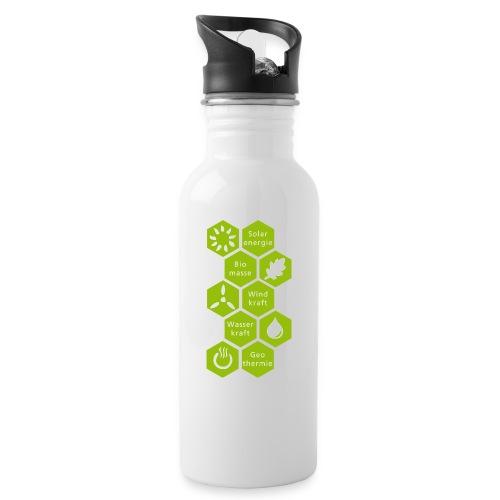 logosechseck600 - Trinkflasche mit integriertem Trinkhalm
