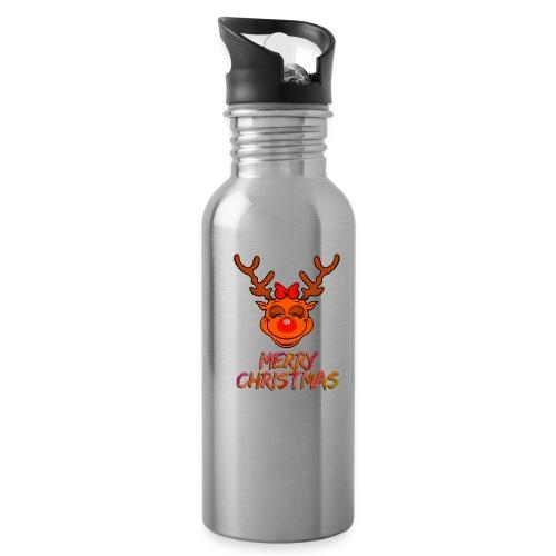 Rudolph weiblich - Trinkflasche mit integriertem Trinkhalm