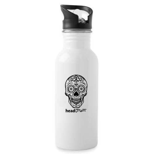 Skull & Logo black - Trinkflasche mit integriertem Trinkhalm