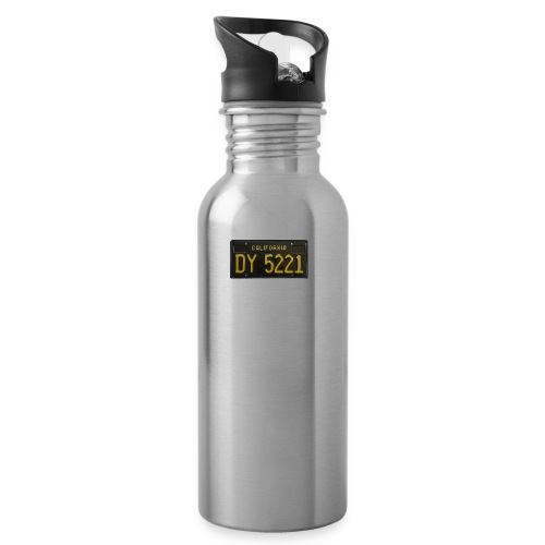 CALIFORNIA BLACK LICENCE PLATE - Water bottle with straw