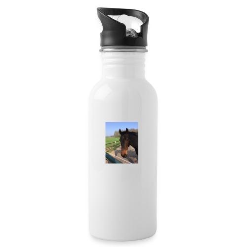 Met bruin paard bedrukt - Drinkfles met geïntegreerd rietje