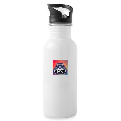bcde_logo - Trinkflasche mit integriertem Trinkhalm