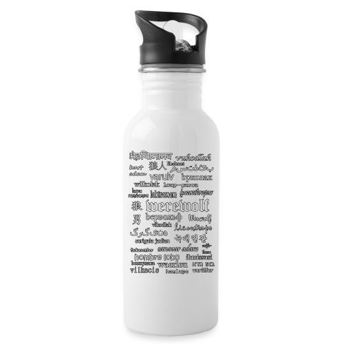Werewolf in 33 Languages (Black Ver.) - Water bottle with straw