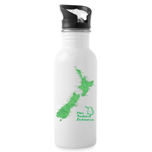 New Zealand's Map - Water bottle with straw