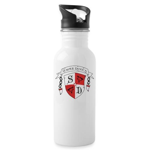 SD logo - sorte lænker - Drikkeflaske med integreret sugerør